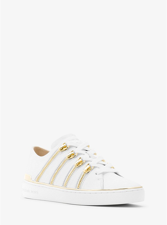 Chelsie Zipper-Trim Leather Sneaker