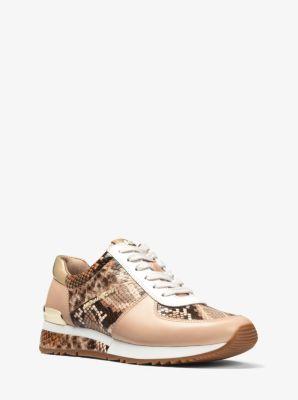 6e039ea8372 Allie Snake-Embossed Leather Sneaker | Michael Kors