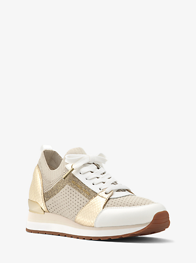 QUICKVIEW  michael michael kors  Billie Metallic Knit Sneaker   1350013500 CREAM