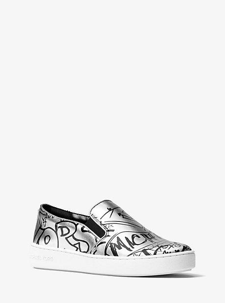 cf405105b9 Keaton Metallic Graffiti Leather Slip-On Sneaker | Michael Kors