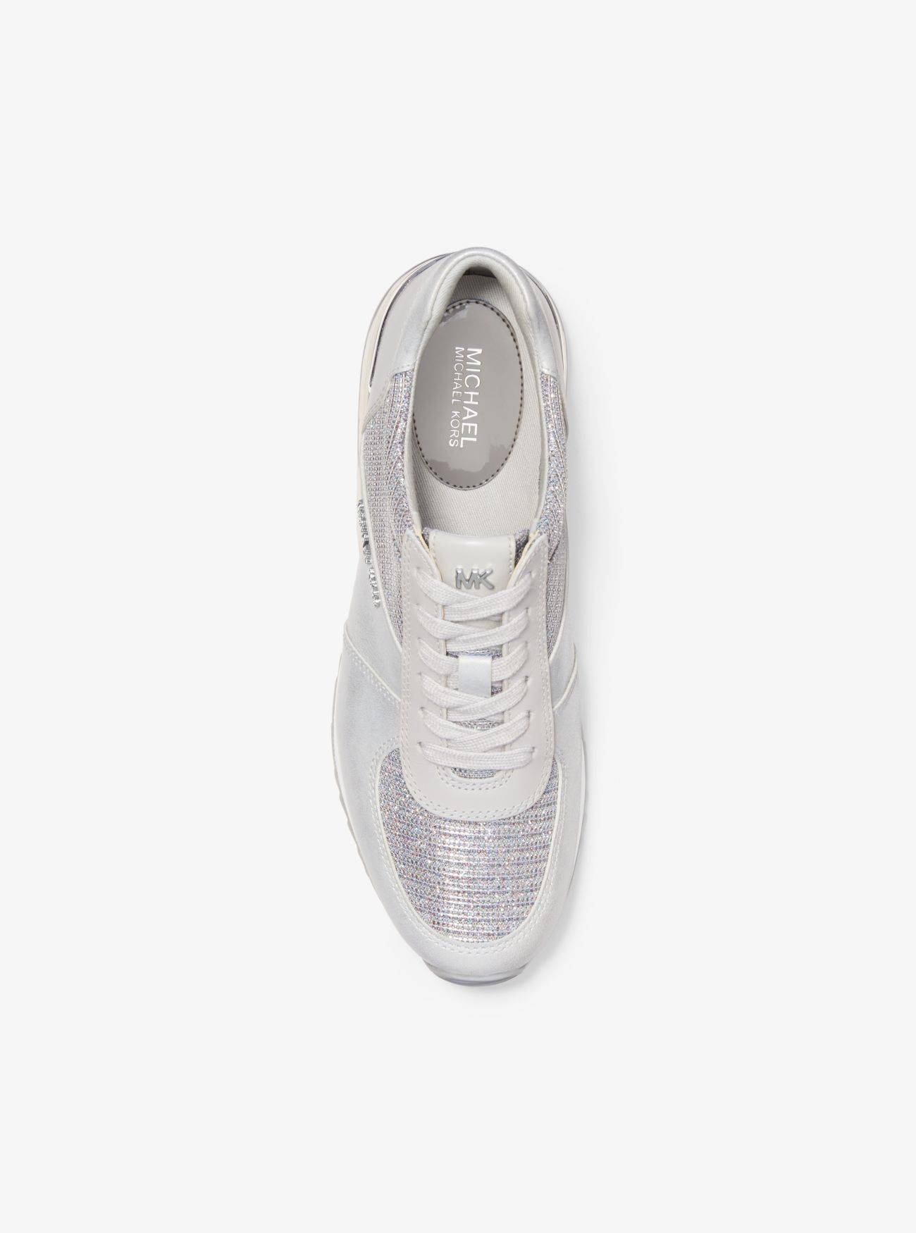 Allie Extreme Leather and Glitter Chain-Mesh Trainer