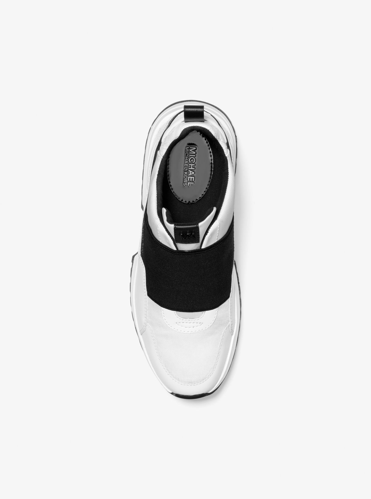 Cosmo Canvas and Snake-Embossed Leather Slip-On Trainer
