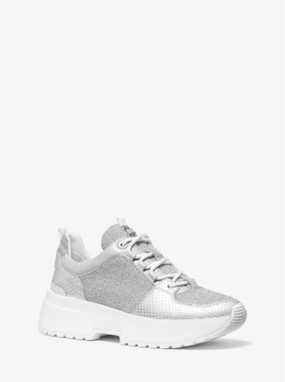 Cosmo Metallic Knit and Snake-Embossed Leather Trainer
