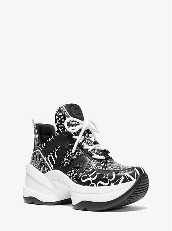 Olympia Leather And Mixed Logo Print Trainer by Michael Michael Kors