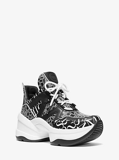 a0ef29c26 Sneaker Olympia aus Leder und Einsätzen mit unterschiedlichen Logomustern. michael  michael kors ...
