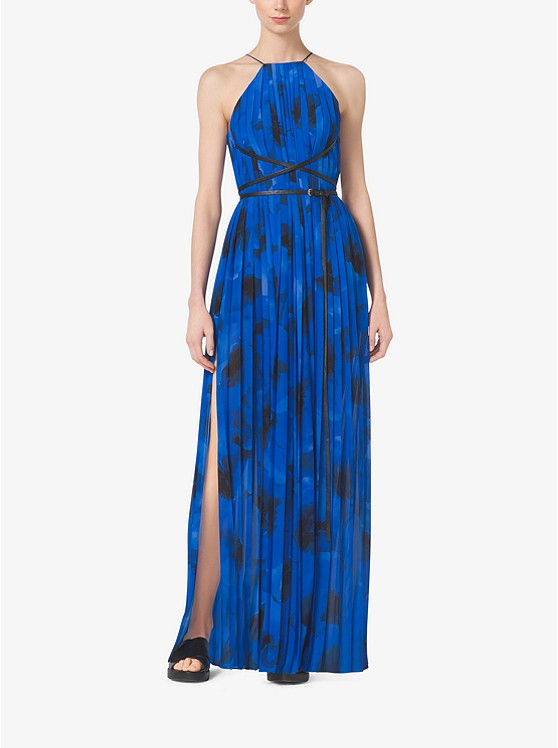 Poppy Print Pleated Silk Georgette Column Gown by Michael Kors Collection