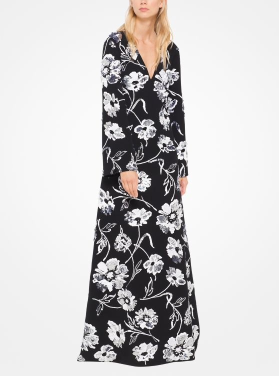 Floral-Embroidered Wool-Tricotine Gown