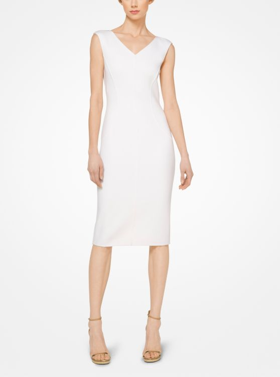 Stretch Bouclé V Neck Sheath Dress by Michael Kors Collection