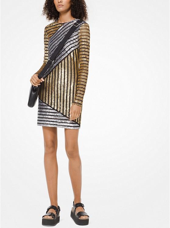 dd821a3152b Stripe Sequined T-shirt Dress
