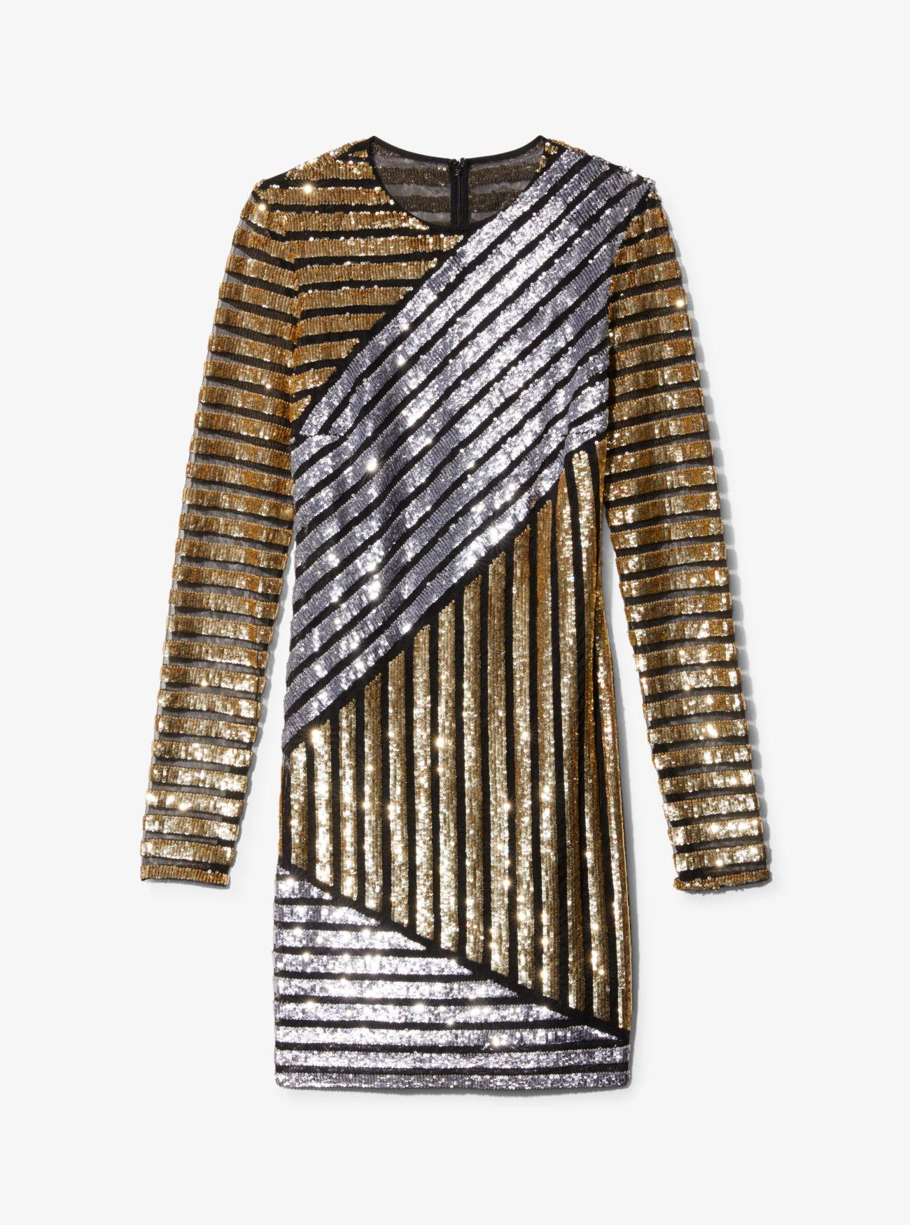 7814ade26d9 ... Stripe Sequined T-Shirt Dress. Michael Kors Collection