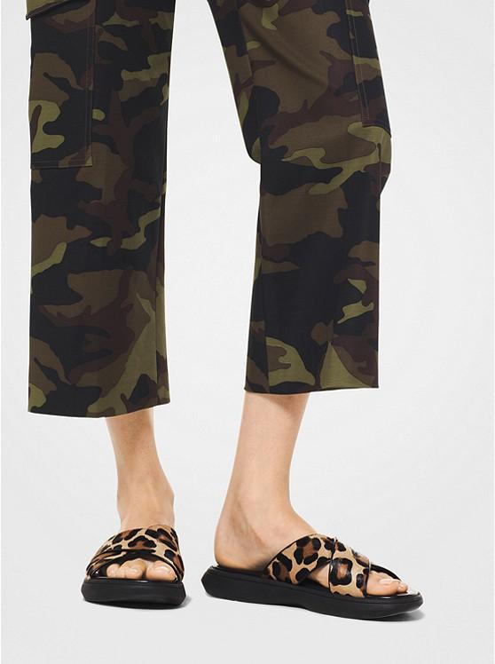 20f09218cf22 Daphne Leopard Calf Hair Slide Sandal | Michael Kors