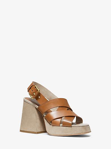5bf6f4c6c8b8 BLACK. Estella Calf Leather Platform Sandal. michael kors collection ...