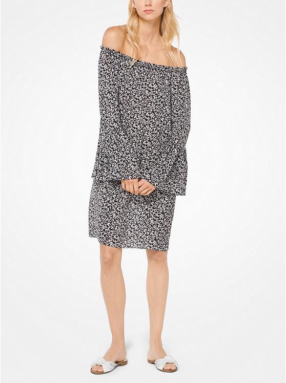 Floral Silk-Georgette Off-the-Shoulder Dress