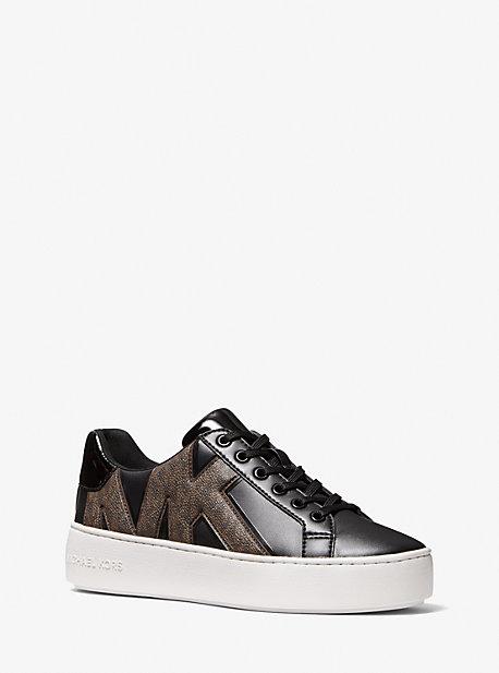 마이클 마이클 코어스 포피 스니커즈 Michael Michael Kors Poppy Logo and Faux Patent Leather Sneaker,BROWN/BLK