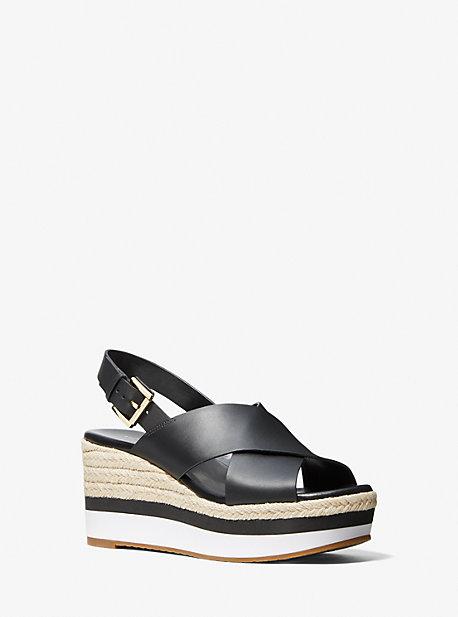 마이클 마이클 코어스 모가나 에스파드류 웻지 샌들 Michael Michael Kors Morgana Leather Espadrille Wedge Sandal,BLACK