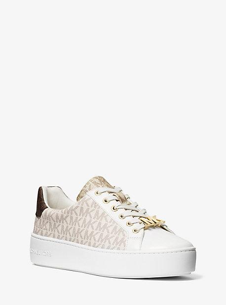 마이클 마이클 코어스 스니커즈 Michael Michael Kors Poppy Color-Block Logo Sneaker,VANILLA