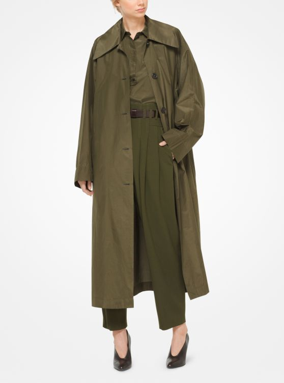 Silk and Cotton Taffeta Trench Coat