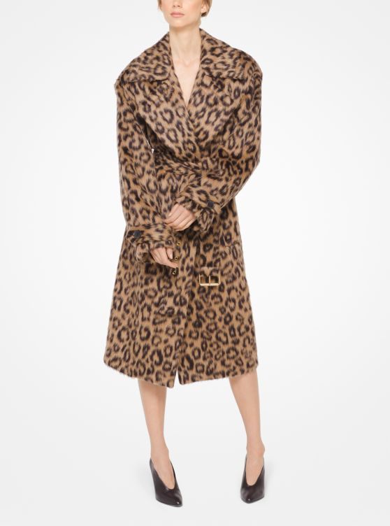 Cheetah Brushed Mohair Trench Coat by Michael Kors Collection