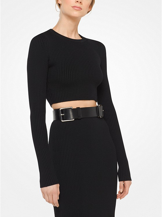 Merino Ribbed Cropped Pullover