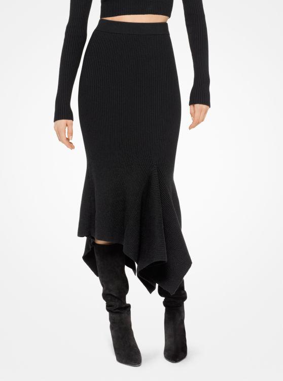 Merino Ribbed Handkerchief Skirt