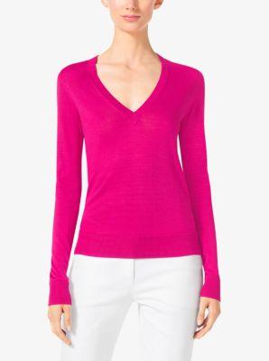 Silk V-Neck Sweater  | Michael Kors