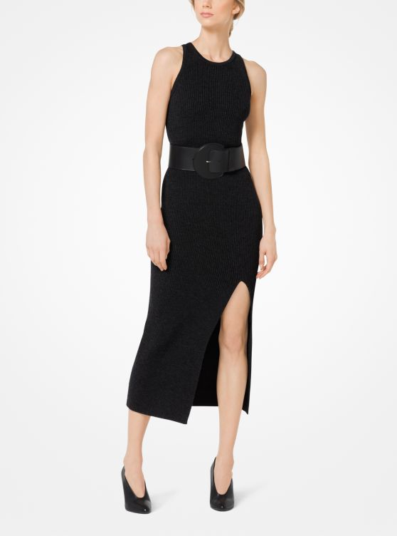 Merino Ribbed Slashed Dress
