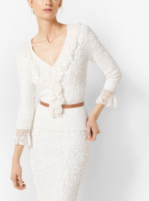 soutache stretch-viscose pullover with hand-knit crochet trim | michael kors