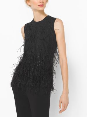 feather-embroidered cashmere shell | michael kors