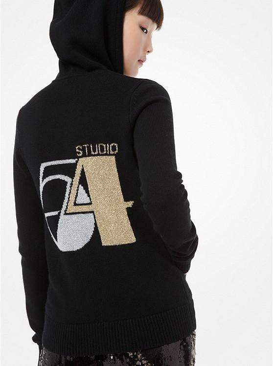 Kapuzenpullover aus Kaschmir mit Reißverschluss und Studio 54 Motiv