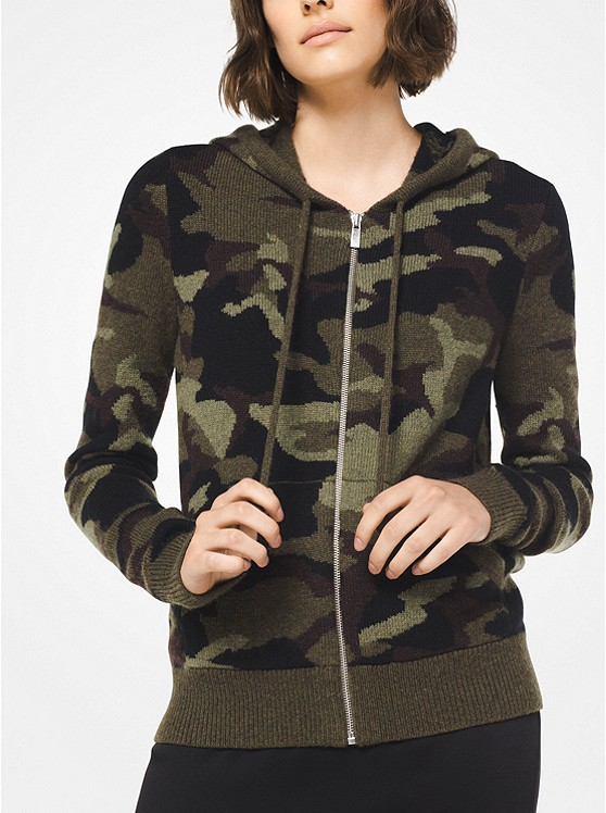 Kapuzenpullover mit Camouflagemuster und Reißverschluss
