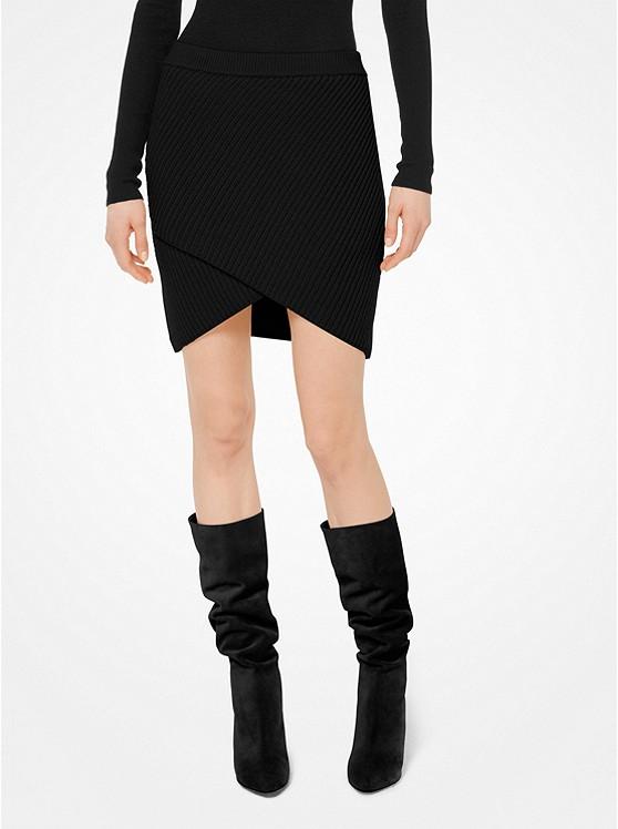 Cashmere Ribbed Surplice Skirt