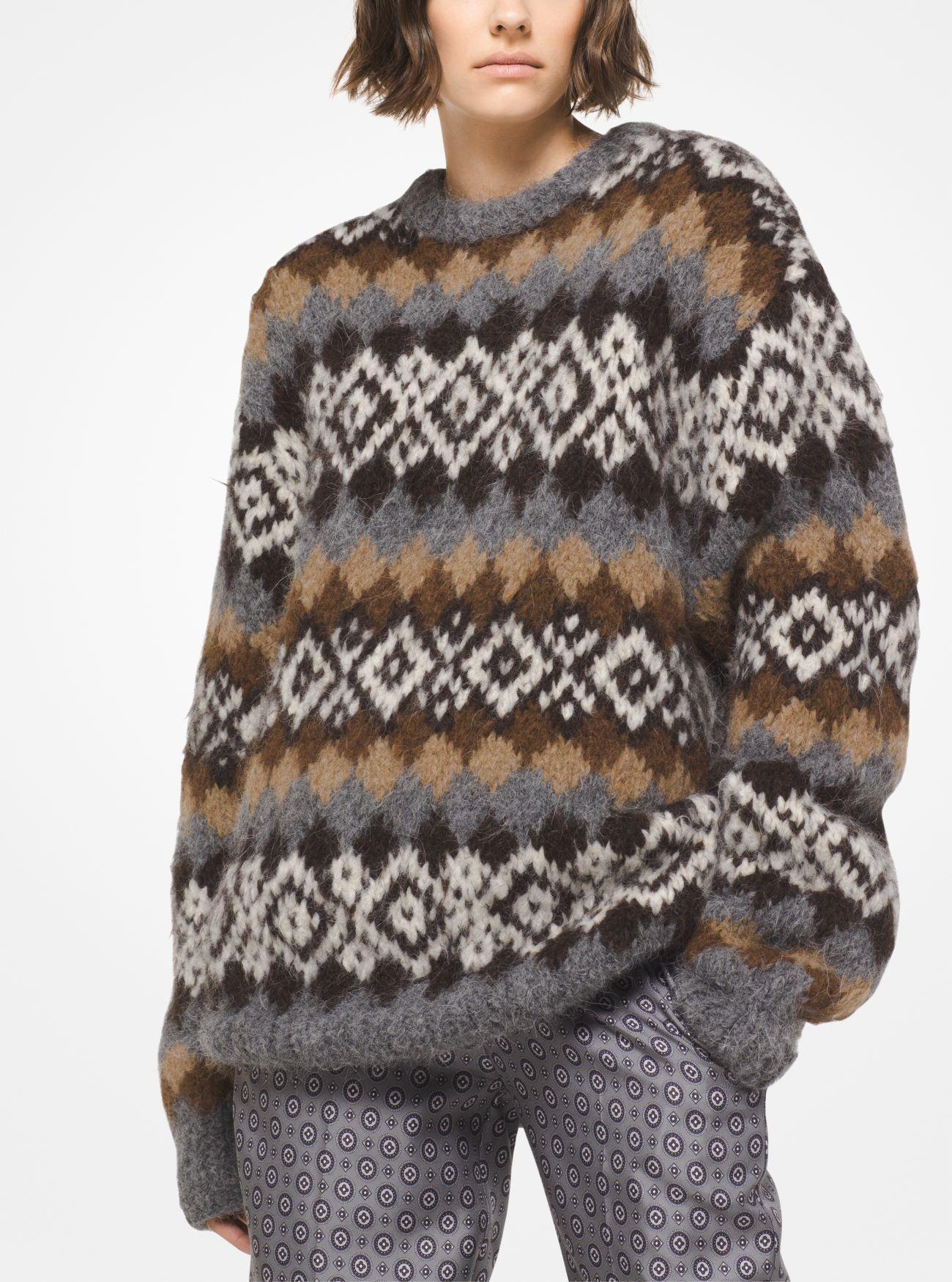 handgestrickter pullover aus alpakawollgemisch mit fair isle muster - Fair Isle Muster