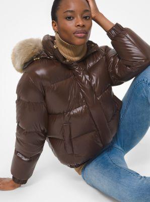 마이클 마이클 코어스 에코퍼 후드 발수 숏패딩 - 브라운/오렌지 Michael Michael Kors Quilted Nylon Jacket