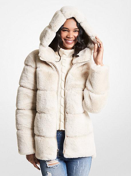 마이클 마이클 코어스 퀼팅 에코퍼 후드 코트 Michael Michael Kors Quilted Faux Fur Hooded Coat