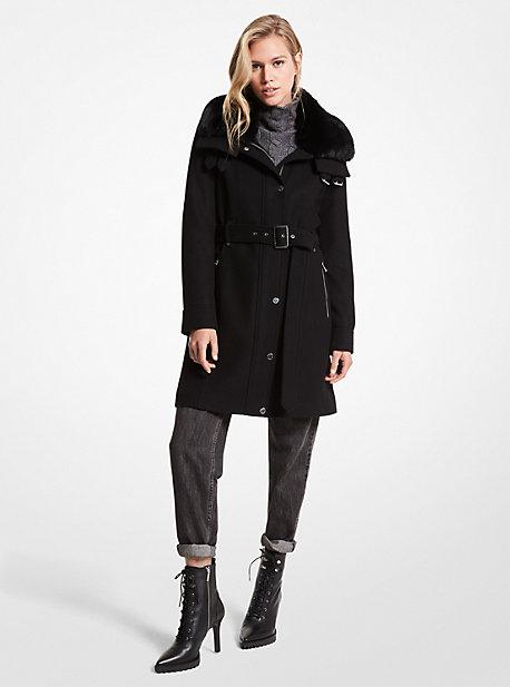 마이클 마이클 코어스 울 코트 Michael Michael Kors Faux Fur-Trimmed Wool Blend Coat