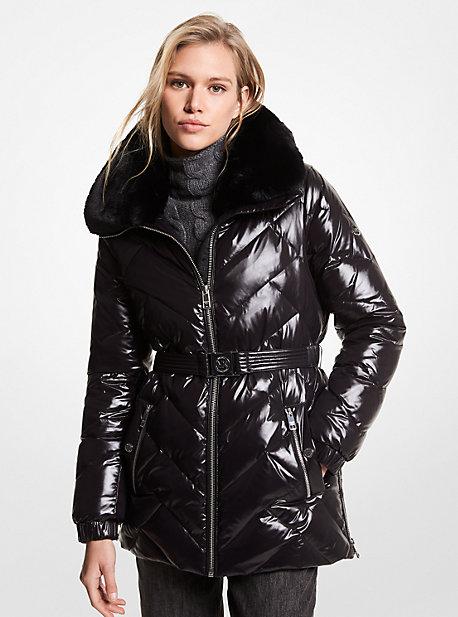 마이클 마이클 코어스 벨티드 롱패딩 Michael Michael Kors Faux Fur Trim Chevron Quilted Nylon Belted Puffer Coat