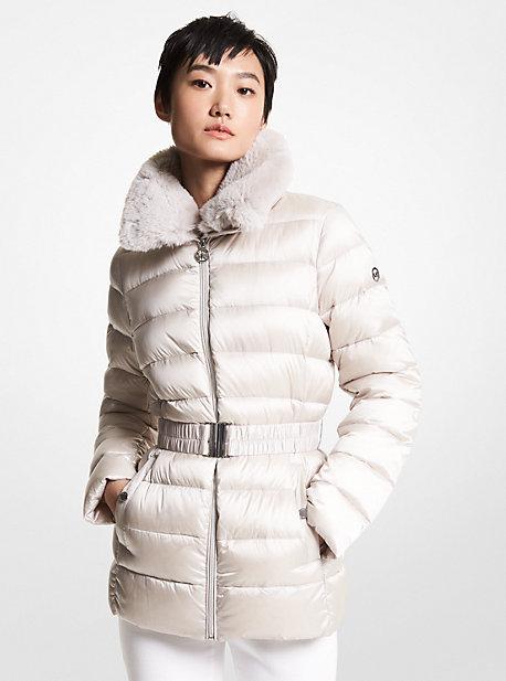 마이클 마이클 코어스 에코퍼 트림 롱패딩 Michael Michael Kors Faux Fur Trim Quilted Nylon Belted Puffer Coat