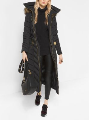 Faux Fur Trimmed Down Puffer Coat Michael Kors