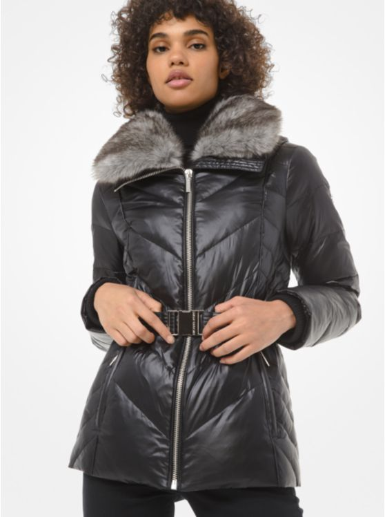 Faux Fur-Trim Chevron-Quilted Belted Jacket