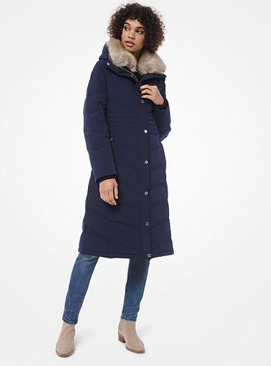 Faux Fur Trim Quilted Puffer Coat