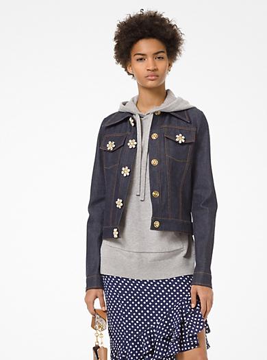 Jeweled-Button Denim Jacket