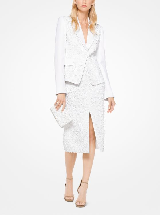 Floral Sequined Double Crepe-Sable Blazer