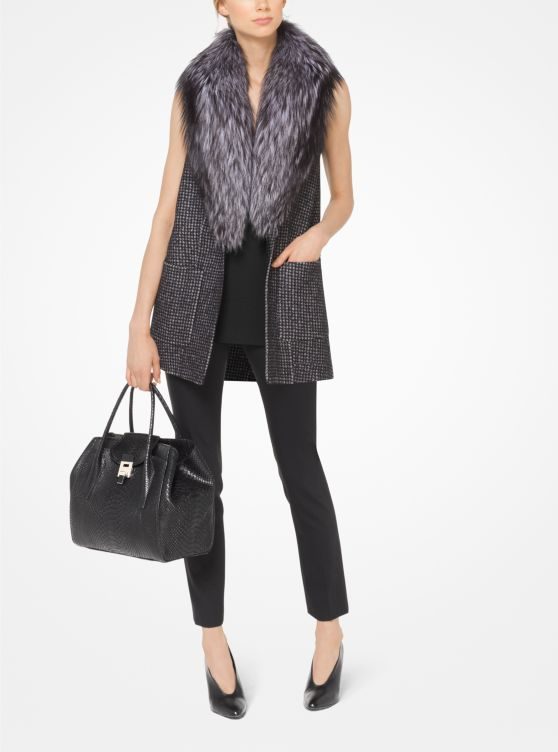 Houndstooth Wool Vest with Fox Fur Collar