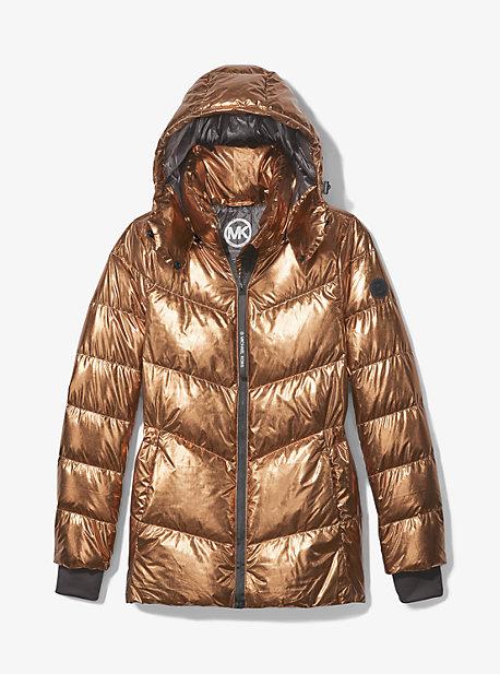 마이클 마이클 코어스 숏패딩 Michael Michael Kors Metallic Quilted Chevron Packable Puffer Jacket