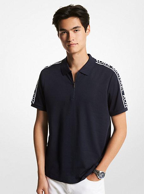 마이클 코어스 맨 폴로 셔츠 Michael Michael Kors Logo Tape Cotton Half-Zip Polo Shirt