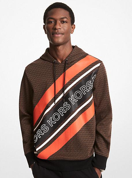 마이클 코어스 맨 후드티 Michael Michael Kors MKGO Graphic Logo Stripe Cotton Blend Hoodie,CHOCOLATE
