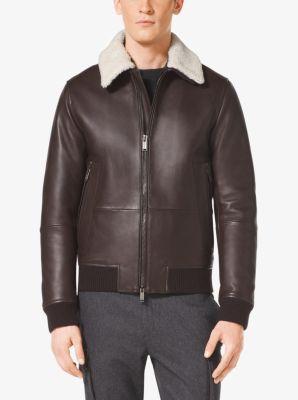 Shearling-Collar Leather Bomber Jacket   Michael Kors