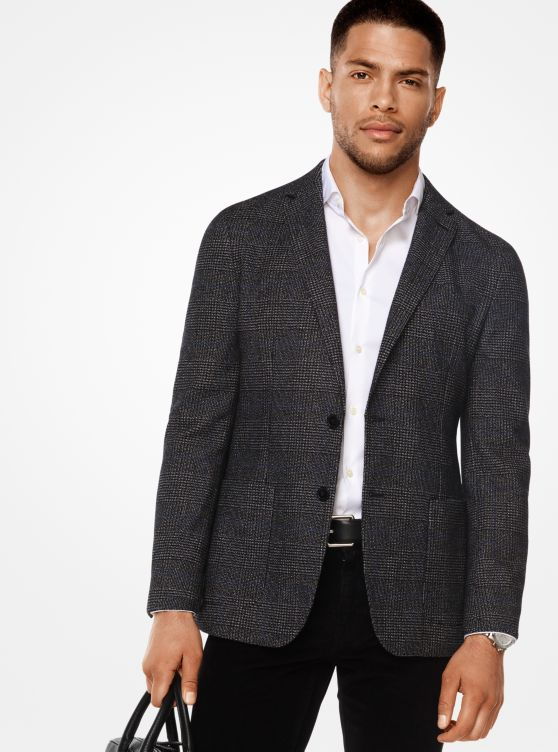 Slim-Fit Glen Plaid Cotton and Wool Blazer