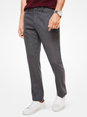 slim-fit stretch-flannel trousers | michael kors