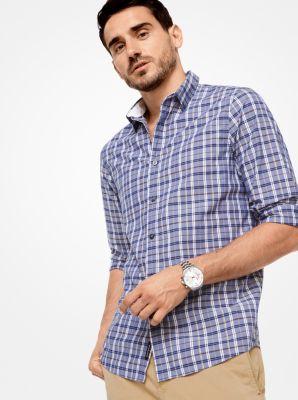 tailored/classic-fit check cotton shirt | michael kors